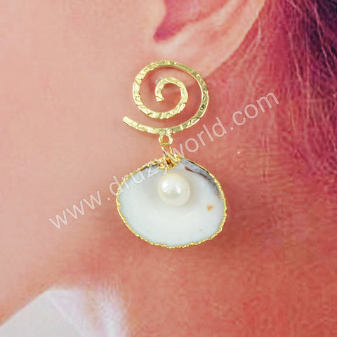 Natural Pearl Conch Earrings Fashion Earring For Women Jewelry Gold Plated HD0194