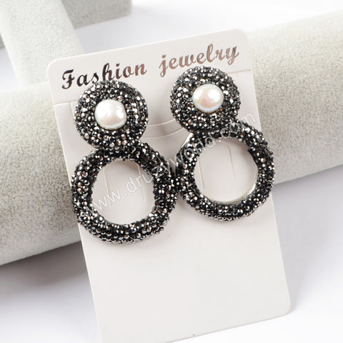 Rhinestone Pave Round Pearl Stud Earrings JAB774