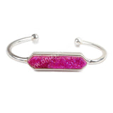Hexagon Silver Plated Bezel Rainbow Titanium AB Druzy Bar Bangle ZS0296