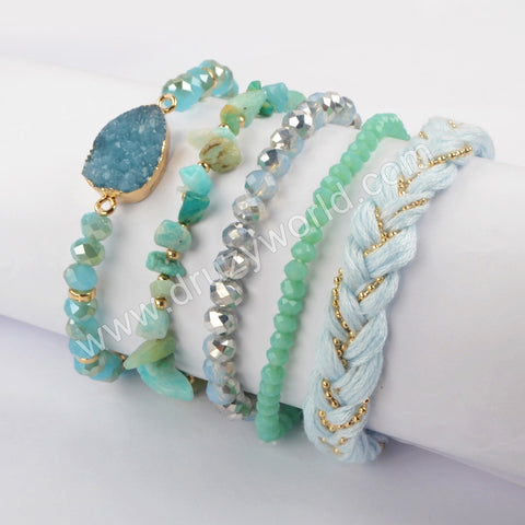 5pieces/set Boho Chic Stone Beaded Bracelet Set WX1184