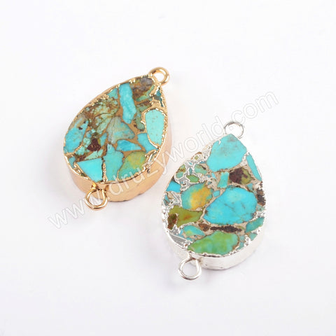 Boho Chic Style Oval Silver Plated Copper Turquoise Stud Earrings Fashion Women Jewelry S1546