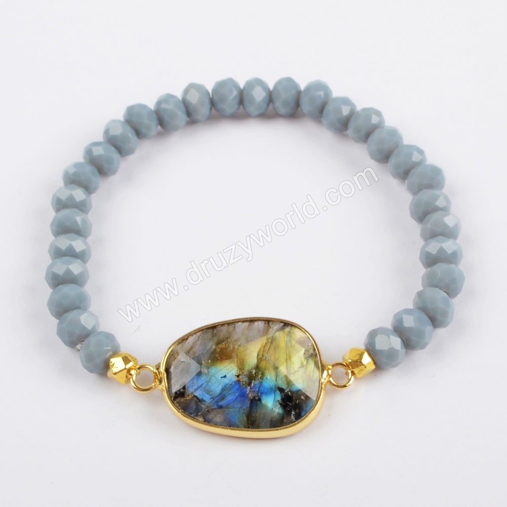 Gold Plated Labradorite Faceted Bracelet 6mm Glass Crystal Beads G1406