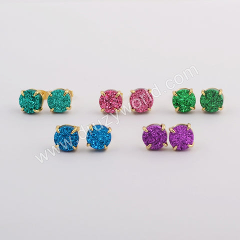 10mm Claw Natural Agate Titanium Rainbow Stud Earrings Gold Plated ZG0412