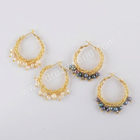 Natural Multi-kind Stones Earrings Gold Plated WX1318