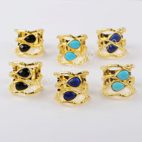 Gold Plated Drop Natural Turquoise Ring ZG0434