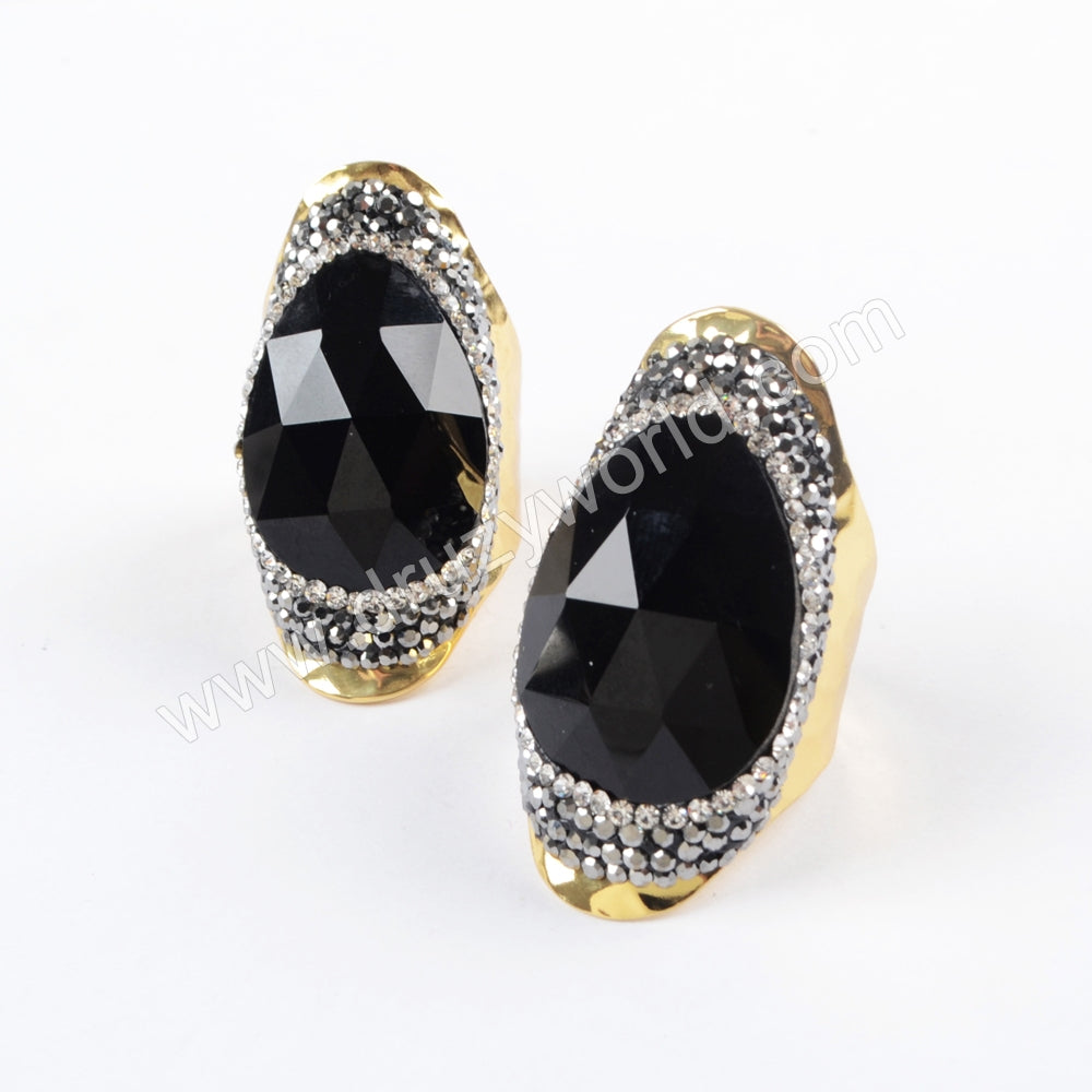 Gold/Silver Rhinestone Pave Black Agate Ring  JAB954