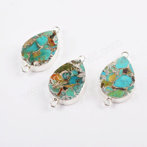 Copper Natural Turquoise Connector Silver Plated S1706