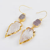 Gold Plated White Druzy & Quartz Arrowhead Earrings G1472