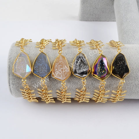 Gold Plated Natural Agate Titanium Rainbow Druzy Faceted Bracelet ZG0177