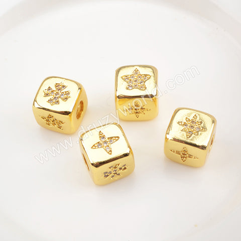 CZ Micro Pave Pattern Beads For Jewelry Making Gold Plated WX1339