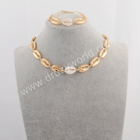Cowrie Shell Adjustable Bracelet and Necklace Gold Plated  WX1094