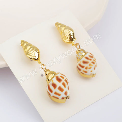 Natural Conch Fashion Earrings Lovely Gift For Her Gold Plated HD0195