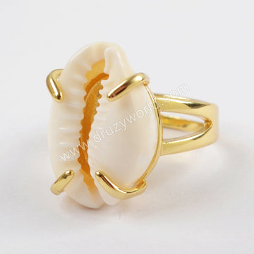 Adjustable Gold Plated Claw Cowrie Shell Ring ZG0318
