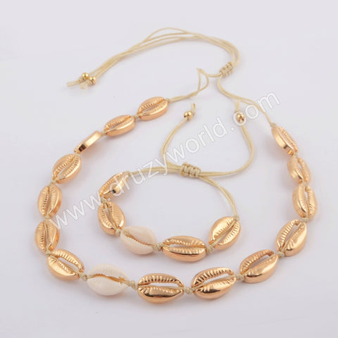 Gold Plated Cowrie Shell Adjustable Bracelet and Necklace WX1094
