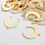 Gold Plated Brass Moon Charm With Hole PJ102