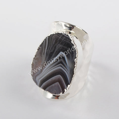 Natural Onyx Agate Druzy Open Band Ring Silver Plated S1389