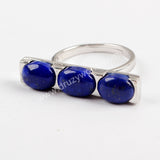 Sterling Silver Three Oval Lapis Lazuli Bezel Ring ZS0297