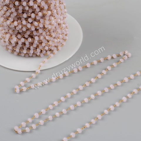 5m/lot,3mm PINK Glass Beads Chains  JT177