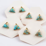 10x10mm Copper Natural Turquoise Stud Earrings Gold Plated G1725