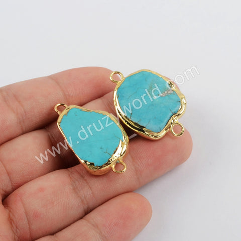 Blue Howlite Turquoise Connector Jewelry Making Gold Plated G1872