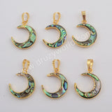 Crescent Gold Plated Abalone Shell Pendant G1768