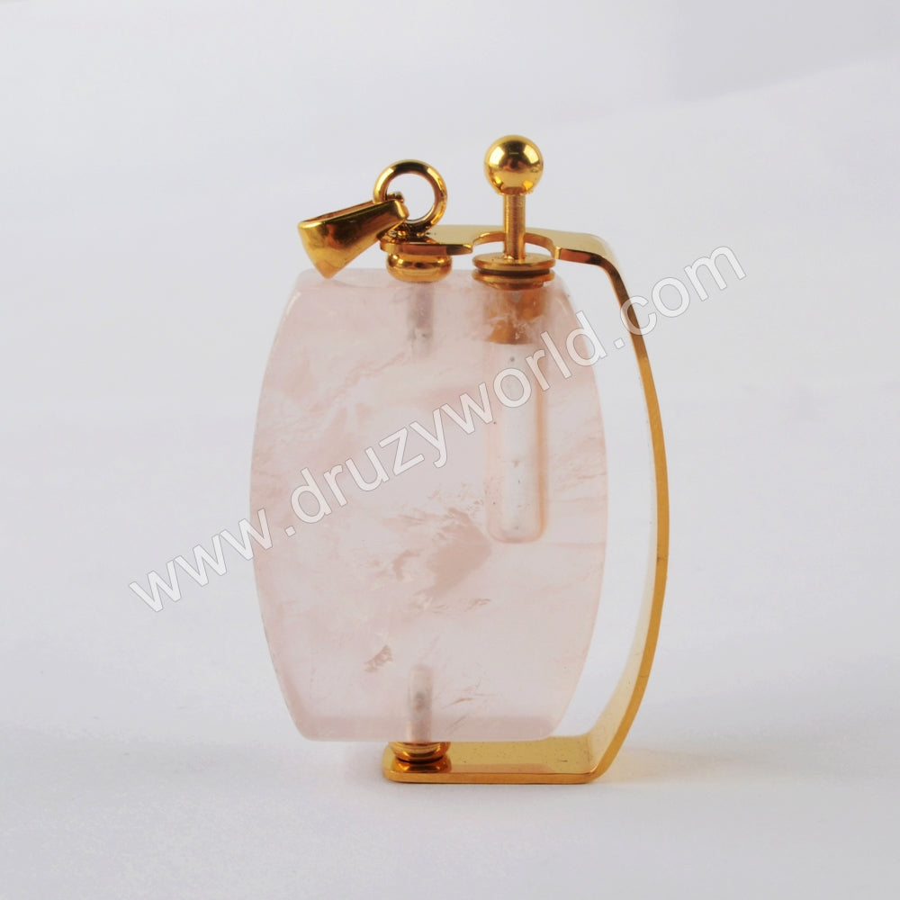 Natural Multi-kind Stones Perfume Bottle Pendant Gold Plated WX1302