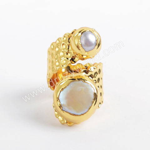 Gold Plated Natural Pearl Ring G1925