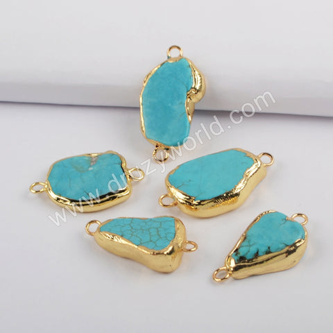 Gold Plated Freeform Blue Howlite Turquoise Connector G1872