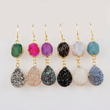 Gold Plated Rainbow Freeform & Teardrop Titanium Druzy Earrings G1473
