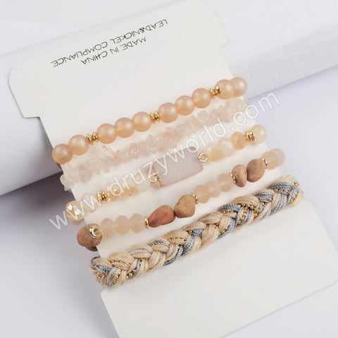 5pieces/set Peach Color Beaded Bracelet Set WX1185