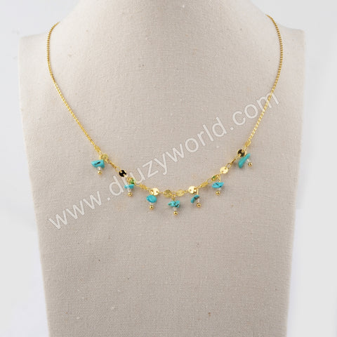 Natural Turquoise Metal Chains Necklace WX1319