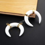 Tribal OX Horn Gold Plated White Agate Connector Double Bails G1077