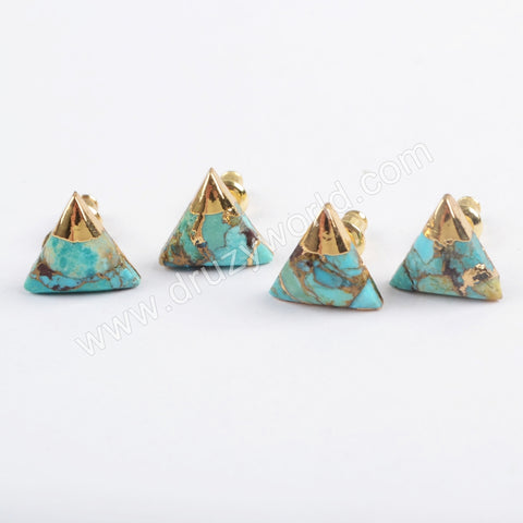 10x10mm Triangle Gold Plated Copper Natural Turquoise Stud Earrings G1725