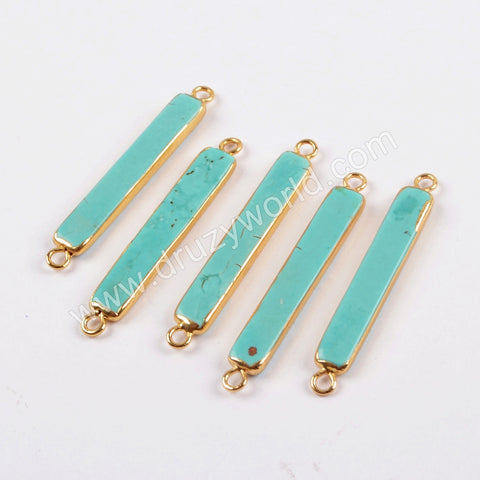 Gold Plated Howlite Turquoise Jewelry Gemstones Genuine Healing Stones Bar Connector G1639