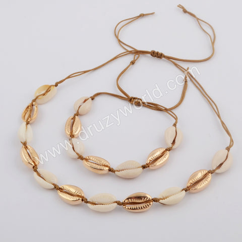 Gold Plated Cowrie Shell Adjustable Bracelet and Necklace WX1095