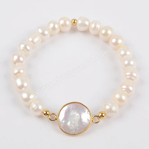 Gold Plated Natural Pearl Bracelet G1407