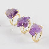 Gold Plated Rough Amethyst Ring Claw Setting Ring ZG0133