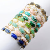 Gold Plated Claw Hexagon Five Natural Multi-kind Stone Faceted Bracelet ZG0335