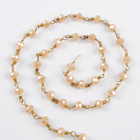 5m/lot,Gold Plated 6mm Champagne Crystal Faceted Rosary Chain JT203