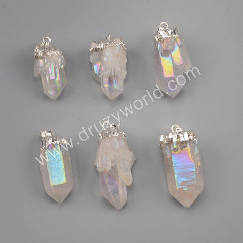 Silver Plated 100% Natural Raw Crystal Point Pendant For Jewelry Handmade S1851