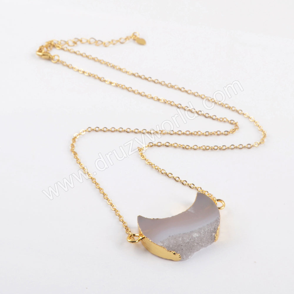 "18"" Crescent Natural Agate Druzy Necklace Gold Plated G1964-N"