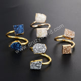 Gold Plated Irregular Shape Rainbow Titanium Druzy Adjustable Ring G1182