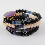 Gold Plated Multi-Color Stone Onyx Agate Beaded Bracelet G1928