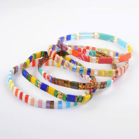 Wholesale Fashion Aautumn Jewelry Tila Rainbow Beaded Bracelet Gift For Her HD0114