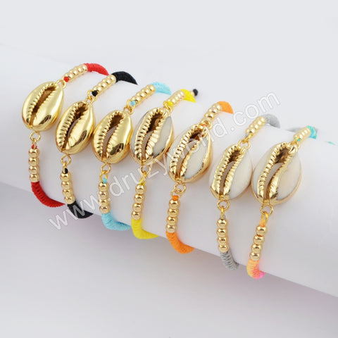 Narural Cowrie Shell Weave Rope Adjustable Bracelet HD0021