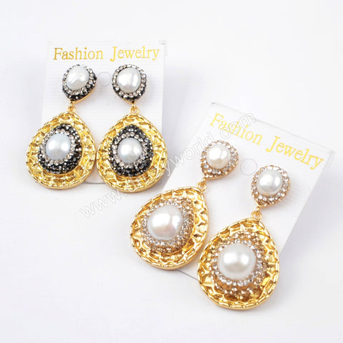 Rhinestone Pave Crystal Pearl Drop Stud Earrings JAB820