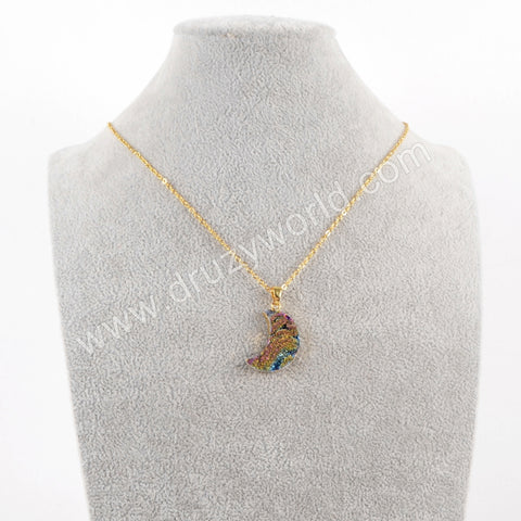 "16"" Gold Plated Moon Rainbow Titanium Galaxy Necklace G1611-N"