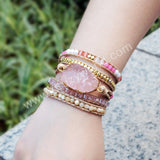 5 Times Boho Leather Wrap Womens Mens Handmade Natural Stones Rose Quartz Stacking Bracelets HD0035