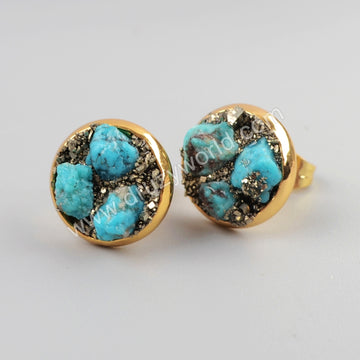 Gold Plated Brass Natural Turquoise Pyrite Chips Stud Earrings G1192