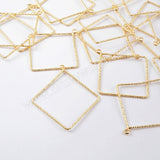 10pieces/lot,Gold Plated Brass Diamond Shape Twiste Charm PJ121